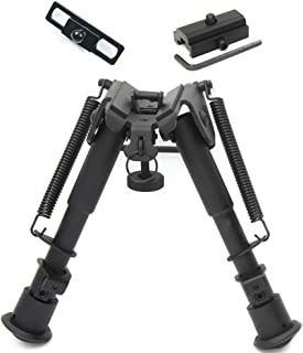 JINSE Tactical Bipod Adjustable 6-9 Inches Spring Return with Picatinny Adapter and Sling Swivel Mount