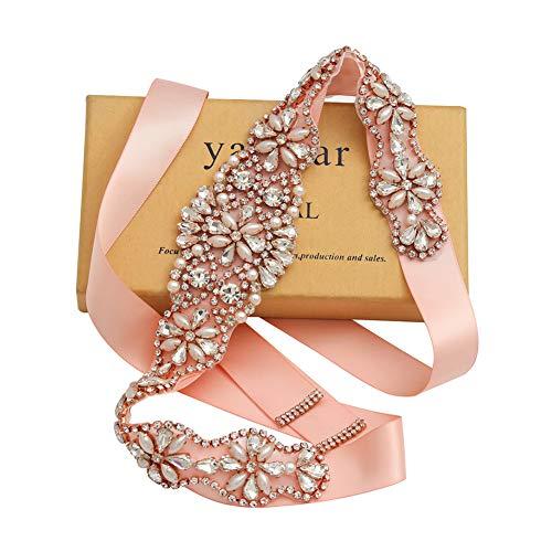 Yanstar Handmade Rose Gold Crystal Bridal Belts Blush Sashes Wedding Belt With Rhinestone For Wedding Bridesmaid Dress (Rose-Blush)