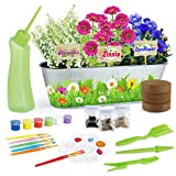 KMUYSL Paint & Plant Flower Growing Kit - Grow Cosmos, Sunflower, Gypsophila - Includes All Paint & Grow Tools - Great Gardening Science Gifts/Toys for Kids Age of 6 7 8 9 10 Years Olds Girls