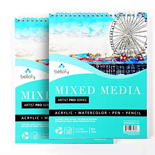 Bellofy 2 x Large Mixed Media Sketchbook 11x14 Inch - Art Paper Pads, 20 Sheets/Pad   98 lb 160gsm   Spiral Sketchpad for Multimedia - Acrylic Pencil Pen Watercolor   Art Supplies