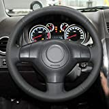 Accesorios para el coche Cuero cosido a mano Cubierta del volante del coche para SX4 Alto Old Swift Opel Agila, BLACK LINE