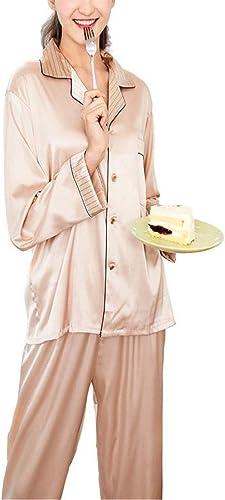 Lonimor Champagne Soie Pyjamas Mis Longs Manches MesLes dames Deux Pièces Cadeau