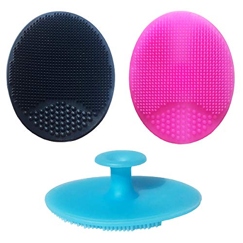 Silicone Face Scrubbers Exfoliator Brush&Baby Bath Brush& Facial Cleansing Brush&baby Cradle Cap Brush&Silicone Massage brush,Suitable for adult facial cleansing and baby bathing (SMALL-3PCS)