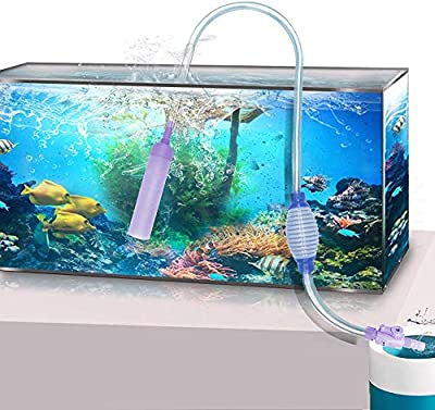STARROAD-TIM Aquarium Gravel Cleaner Fish Tank Siphon Long Nozzle Cleaning Kit Tool Used for Water Change and Dirt Suction with Valve and Squeeze Airbag Suitable for Various Sizes of Fish Tanks