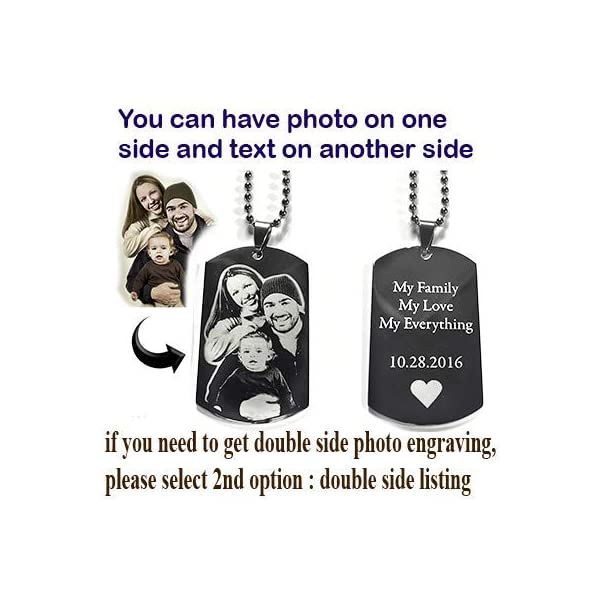 Custom Photo Text Engraving Dog Tags Necklace Pendant + Free Photo Text Engraving