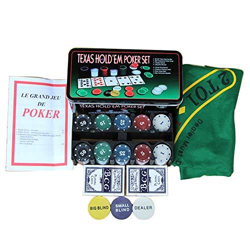XSWL Juego de 200 Piezas Texas Holdem Poker y Blackjack, con código de Mantel de Caja de Hierro, para Juegos de póquer, Juego de Mahjong