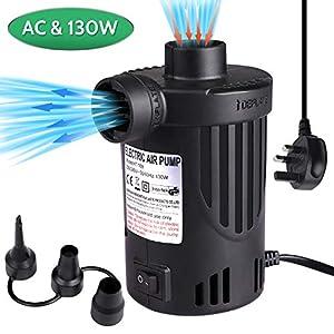 Bomba de aire eléctrica, bomba eléctrica para colchón de aire, piscina, anillo de natación, acampada, inflable, bomba de aire con 3 boquillas