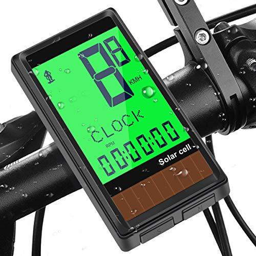Osaloe Computer da Bici, 19 Funzioni Tachimetro per Bici con Retroilluminazione LCD a Energia Solare...