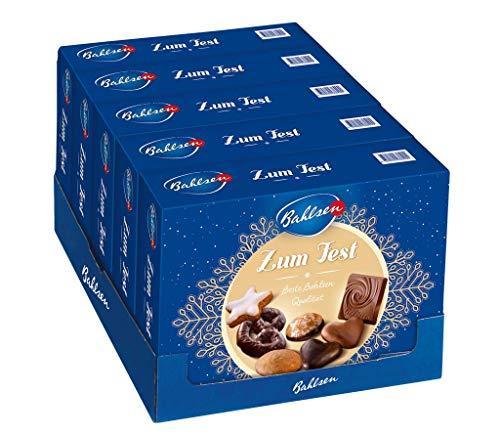 Bahlsen Zum Fest – besonders leckere Gebäckmischung zu Weihnachten – Mix aus schokoladigen und puren Lebkuchen – mit Zimtsternen und Schokolade, 5er Pack (5 x 500 g)