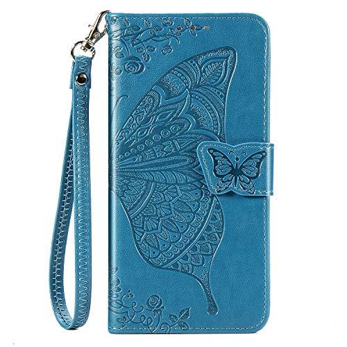 Blllue Capa carteira compatível com Motorola Z4, capa de celular em couro PU borboleta em relevo para Moto Z4 Play/Moto Z4 - azul