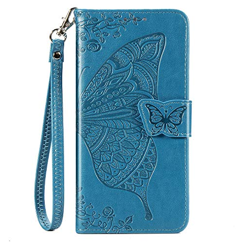JZ Butterfly & Flower Hülle for Für Sony Xperia 1 / Xperia XZ4 Embossed Series Wallet Flip Cover with [Wrist Strap] - Blue