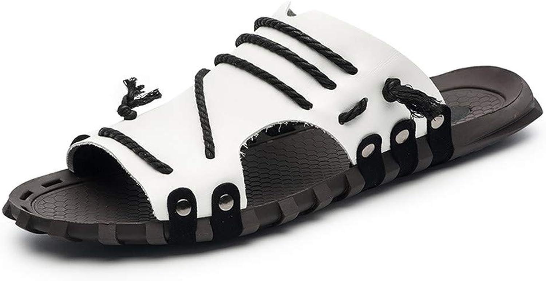 YoiGn Herren Sandale Single Schuhe Stiefelschuhe Erwachsene Mnner Sommer Outdoor Leder Waten Strand Sandalen und Hausschuhe Im Sommer frisch und atmungsaktiv (Farbe   Wei, Gre   40 EU)