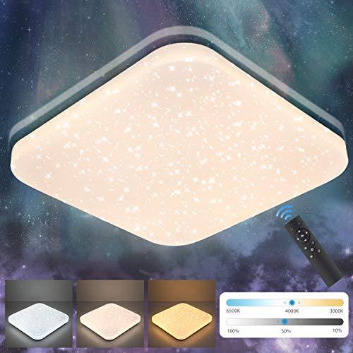 LED Deckenleuchte Dimmbar 24W, Oeegoo 1680Lm Sternenhimmel Deckenlampe mit Fernbedinung, 3000K-6500K Stufenlos dimmbar Sternenlicht als Schlafzimmerlampe, Kinderzimmerlampe, Nachtlicht