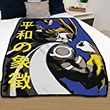 JUST FUNKY My Hero Academia Chibi [Blue 46'x60'] Anime Fleece Throw Blanket for Bed Couch Sofa, A Unique Warming Decor Gift All Might for Kids and Adults (Officially Licensed)