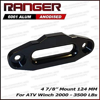 "Ranger ATV Aluminum Hawse Fairlead 2000-3500 LBs ATV Winch 4 7/8"" (124MM) Mount Ultranger Glossy (Black)"