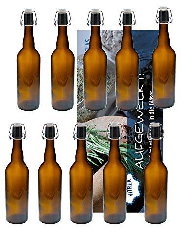 hocz 10er Set Bügelflaschen Bügelflasche Glasflaschen Bügelflaschen 750ml Braun mit Bügelverschluss zum Selbstbefüllen Essigflaschen Ölflaschen Vitrea