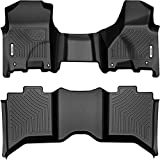 oEdRo Floor Mats Compatible for 2012-2018 Dodge Ram 1500/2500/3500 Crew Cab, 2019-2021 1500 Classic(NOT New Body), 2 Row Liner Set(Over-Hump Front & 2nd Seat), Black TPE All-Weather Guard - Custom Fit