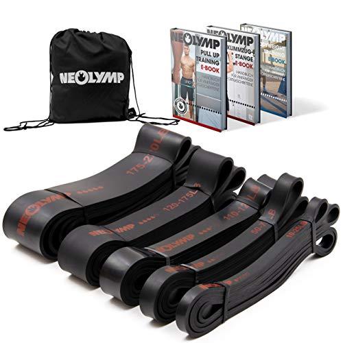 NEOLYMP Premium Pull Up Fitnessbänder   Perfekt für Muskelaufbau und Crossfit Freeletics Calisthenics   Fitnessband Klimmzugbänder Widerstandsbänder (Schwarz 5er Set)