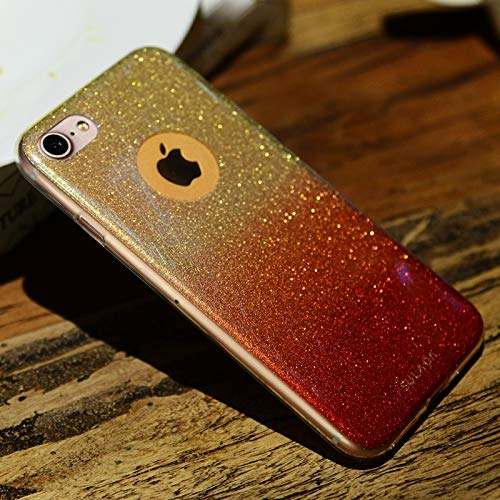 KIOKIOIPO-N Mode Stoß- TPU + Blau-Licht-Blitz-Puder-Kasten for iPhone 8 & 7 (Color : Rot)