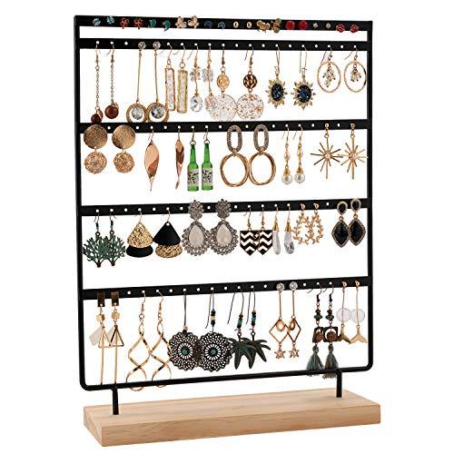 QILICZ - Soporte para pendientes (100 agujeros, 5 animales, metal, base de madera, soporte para joyas, 35 x 27 cm)