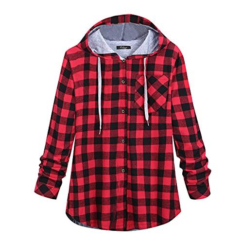 Dasongff Chaqueta a cuadros para mujer con capucha, blusa, chaqueta de camisa en bloque de color, camisa de...