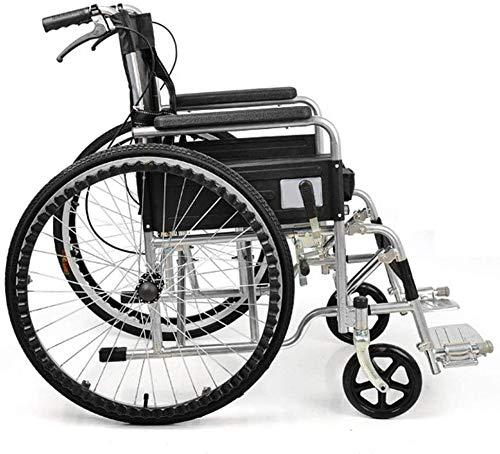Syxfckc Rollstühle, leichte Falten dicken Stahl, manuelle faltbaren Rollstuhl Behinderte ältere Fahrer