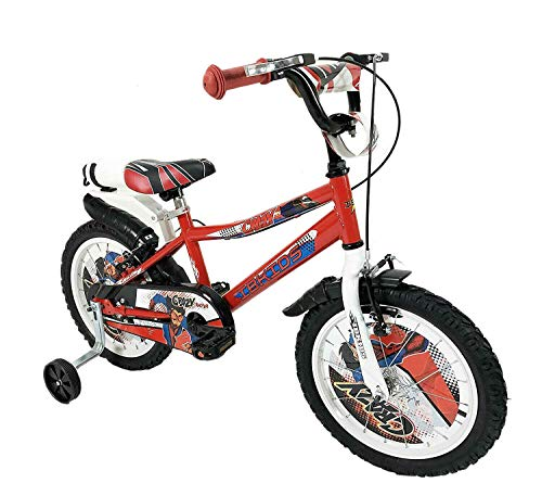 Bici Bicicletta Bimbo 16' Pollici Crazy Rossa bianco su Sfera Raggi Regolabili Freni V-Brake