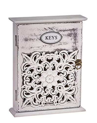 TIENDA EURASIA® Caja de Madera para Colgar Llaves - Armario Decorativo para Llaves (Keys Flor 20X6X26,5)