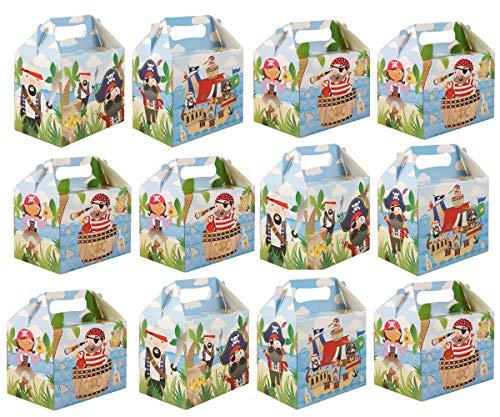 KINPARTY ® - CAJITAS de PIRATAS (Pack de 12) para regalos, para cumpleaños, para fiestas de piratas, para golosinas, para niñas y niños