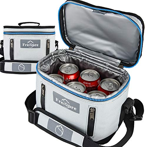 Fresho Insulated Lunch Kit Tote Slim Box Bolsas pequeñas para mujeres/hombres 丨 Compact Storage Comidas Contenedores Ice Pack - Crossbody con correa de hombro ajustable (Sliver Grey)