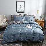 OLDBIAO Ropa de cama de 220 x 240 cm + 2 fundas de almohada de 80 x 80 cm, color gris y azul envejecido, ropa de cama reversible para hombre y niño