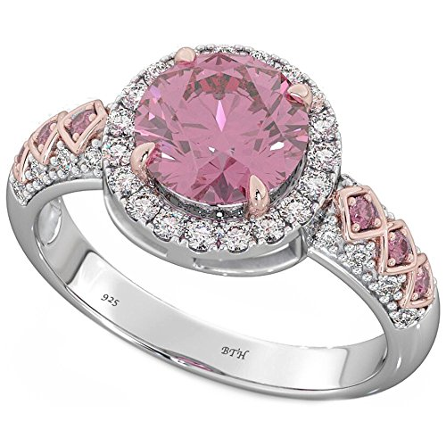 BestToHave Ladies 925 Sterling Silver with Round Cut Created Pink Sapphire Wedding Engagement Ring T