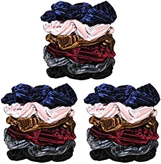 Syleia Set of 18 Large Velvet Hair Scrunchies Hair Ties No Damage Durable Stay in Place Hair Accessories with ribbed velvet texture and rich colors - blue, black, burgundy red, brown, grey, pink