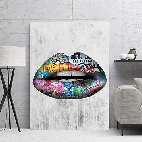 Brandless Abstrakte sexy Lippen-Graffiti-Kunst-Leinwand-Pop-Art-Plakat-Druck-Ölgemälde-Wandbilder für Wohnzimmer-Spiegel 40x60cm Kein Rahmen