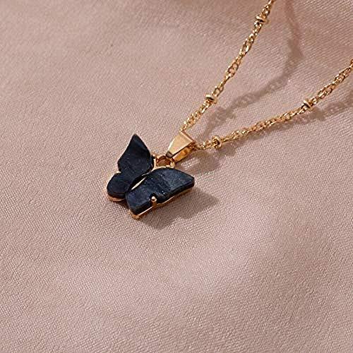 AOAOTOTQ Co.,ltd Collar Mujer Lindo Mariposa Colgante Collar cóctel Estilo Collar Coreano joyería Regalo Negro