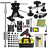 Super PDR Dent Puller Kit Paintless Dent Repair Kit with Adjustable Black Dent Lifter and T-bar Dent Puller for Auto Body Dent Removal Minor Dent and Deep Dent Removal Tool (Full Set)