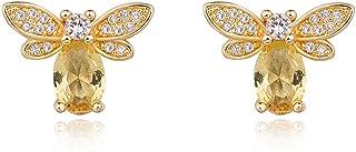 Vendita calda gioielli color argento naturale citrino peridoto micro intarsiato piccolo ornamento set di api