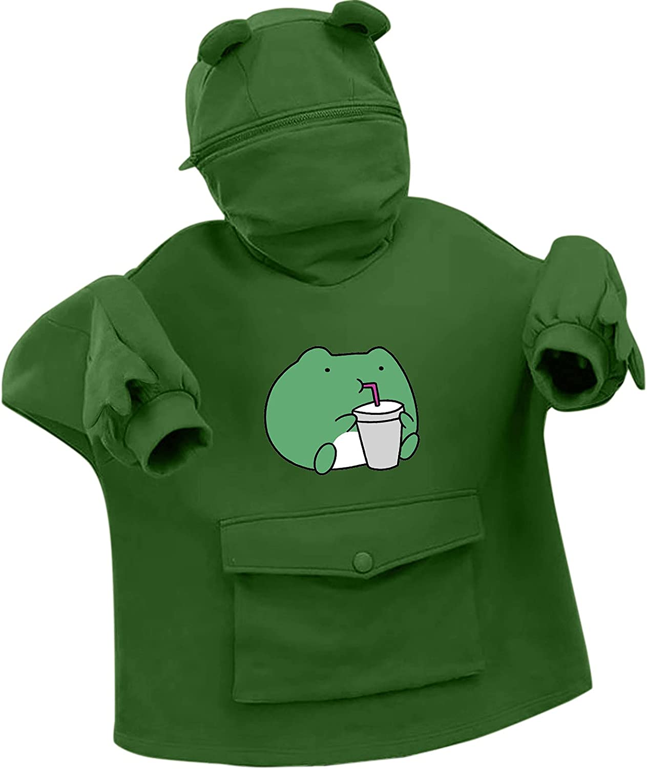 AODONG Hoodies for Womens Cute Hooded Pullover Tops with Pocket Frog Printed Long Sleeves Sweatshirt for Teen Girl