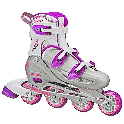 Roller Derby Women's V-Tech 500 Button Adjustable Inline Skate, Grey/Purple