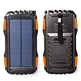 Friengood Cellule solaire 25000mAh, chargeur de téléphone portable solaire, batterie externe pour iPhone, iPad, Android, appareil numérique 5V, double sortie USB et lampe de poche LED (orange)