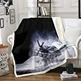 Erosebridal Airplane Sherpa Blanket, Fighter Flight Aircraft Accident Wreck in Snow for Boys Teens Man Blanket Throw, Decorative Sofa Fleece Blanket Ultra Soft, Throw 50'x60', White Black