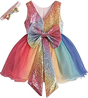 Yalla babY Kids Dress for Girls Rainbow Sequins Tulle Gown with Bow Knot & Headband Princess Birthday Party Wedding Tutu D...