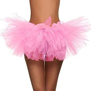 TOTOD Skirts for Women, Paillette Elastic 5 Layered Tutu Short Skirt Retro Adult Party Club Dancing Costume