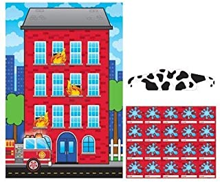 happy deals ~ Fire Truck - Pin The Water on The fire Party Game