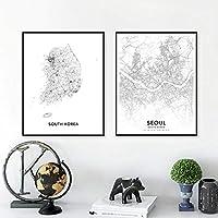 韓国地図白黒ポスターアートプリントソウルシティストリートロードマップモダンウォールアートキャンバス絵画写真オフィス装飾| 40x60cmx2Pcs |フレームなし
