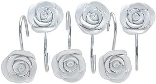 AGPTEK Shower Curtain Hooks, 12PCS Anti Rust Decorative Resin Hooks for Bathroom, Baby Room, Bedroom, Living Room Decor (White Rose)