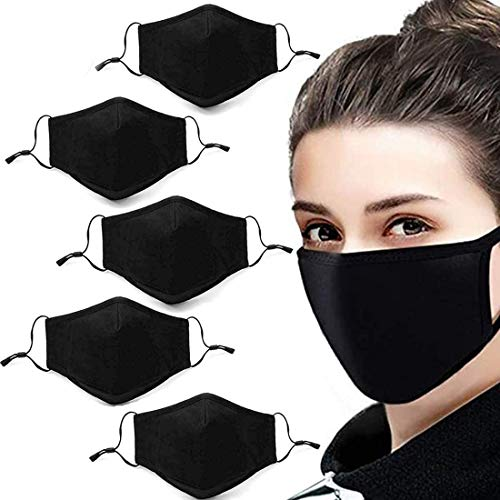 5 Pack Unisex Fashion Stretch Lightweight Cotton Covering Face and Mouth Reusable Washable Adjustable (5 PCS)