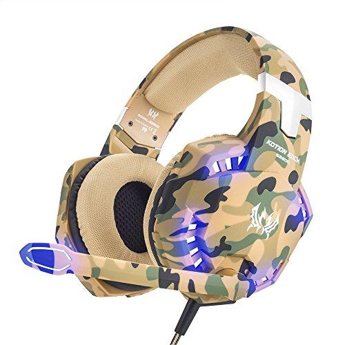 VersionTECH. Gaming Headset PS4 Kopfhörer 3,5 mm PC LED Beleuchtung Bass Kopfhörer Stereo Over-Ear-Headset mit Mikrofon für Xbox One, Laptops, Mac, Tablet und Smartphone Camouflage