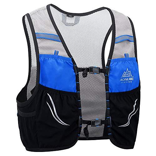 AONIJIE mochila de hidratación 2.5 litro Maratoner Running Race chaleco de hidratación para correr, senderismo, mochila con mochila de hidratación, color azul y negro, tamaño M/L
