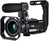 Video Camera 4K Camcorder ORDRO 4K Ultra HD Camcorder 10x Optical Zoom 4K Video Camera 1080P 60FPS 3.1'' IPS Touch Screen WiFi Camera Recorder with Microphone Wide Angle Lens and Camera Holder